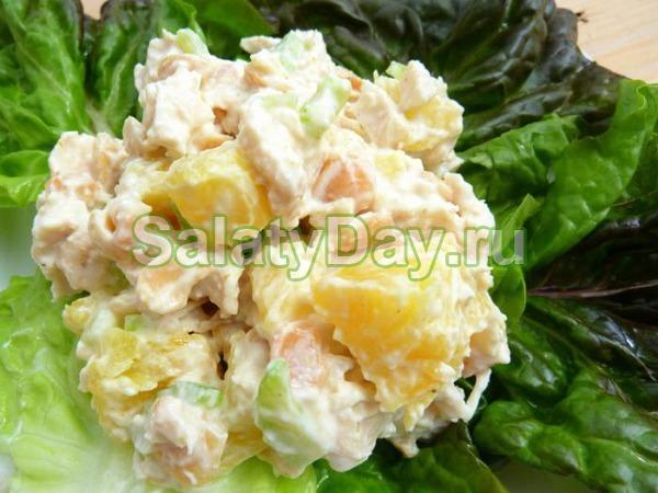 Салат с консервированными ананас куриная грудка яйцо